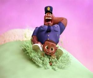 Puzle Earl Devereaux, o policial Cal e seu filho em uma bola de sorvete