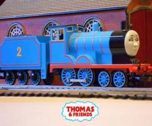 Puzle Edward, a locomotiva em azul tem o número 2