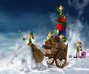 Puzle Elfos ajudar o Papai Noel entrega presentes de Natal