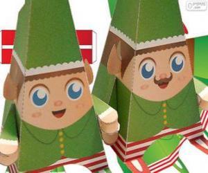 Puzle Elfos de Natal de papel