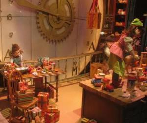 Puzle Elfos de Natal fazendo brinquedos para os presentes