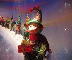 Puzle Elfos de Santa Claus transportando a caixa dum presente