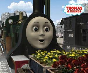 Puzle Emily, a locomotiva verde esmeralda é o mais novo membro da equipe de as locomotivas a vapor