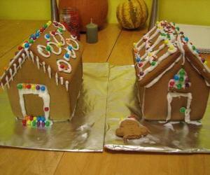 Puzle Enfeite doce e bonito de Natal, duas casas de gingerbread