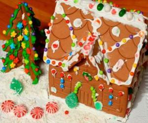 Puzle Enfeite doce e bonito de Natal, uma casa de gengibre