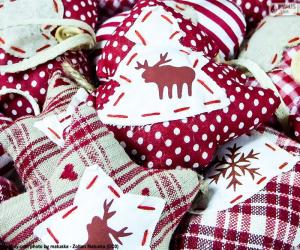 Puzle Enfeites de Natal, tecido