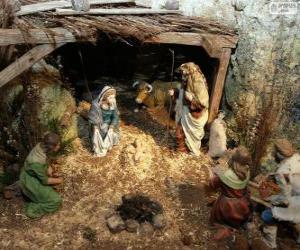 Puzle Escena do Nascimento de Jesus em um estábulo perto de Belém