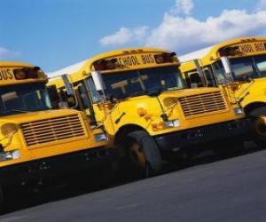 Puzle Escola de estacionamento para ônibus