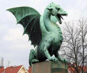 Puzle Escultura dragão alado
