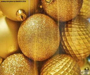 Puzle Esferas douradas para o Natal