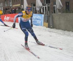Puzle Esquiador de esqui de fundo