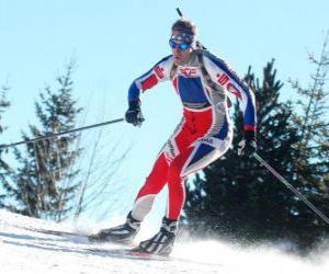 Puzle Esquiador em pleno esforço na prática do esqui cross-country esqui nórdico