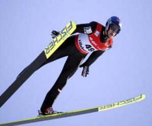 Puzle Esquiador, em vôo por um salto de trampolim