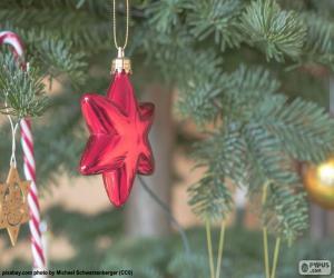 Puzle Estrela de Natal vermelha