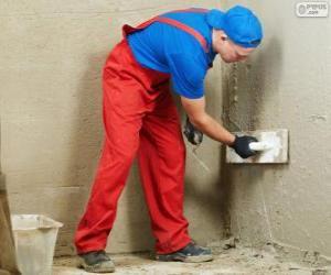 Puzle Estucador trabalhando em um revestimento de parede