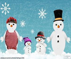 Puzle Família bonecos de neve