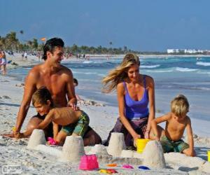 Puzle Família na praia