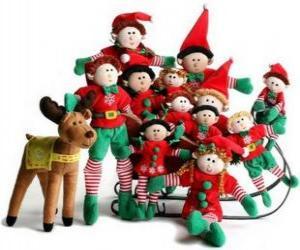 Puzle Família de elfos com seu rena