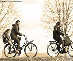 Puzle Família en bicicleta
