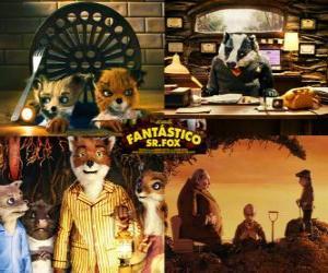 Puzle Fantastic Mr. Fox,  Raposas e Fazendeiros ou O Fantástico Sr. Raposo