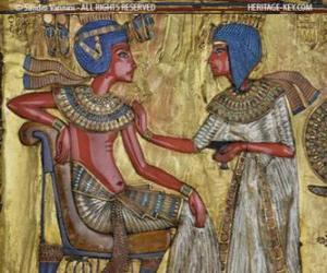 Puzle Faraó sentado em seu trono com um cetro nejej, sob a forma de um chicote, na mão