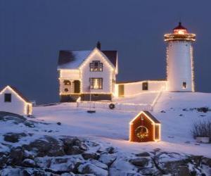 Puzle Farol e da casa de farol com decorações de Natal