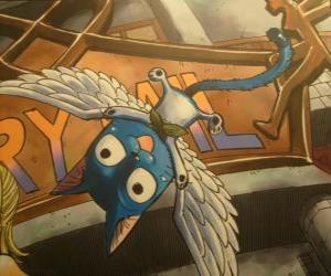 Puzle Feliz é um gato que a magia pode ter asas, companheiro inseparável do Natsu nas aventuras de Fairy Tail