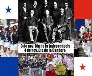 Puzle Feriados nacionais do Panamá. 3 de novembro, Dia da Independência. 4 Novembro, Dia da Bandeira