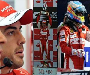 Puzle Fernando Alonso comemora a vitória em Monza, Itália Grand Prix (2010)