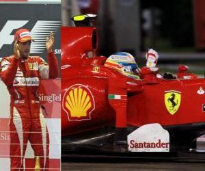 Puzle Fernando Alonso comemora a vitória no Grande Prêmio de Cingapura (2010)