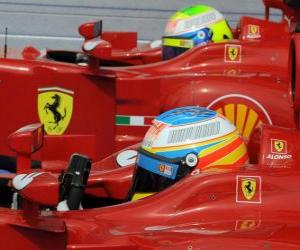 Puzle Fernando Alonso, Felipe Massa - Ferrari - 2010 Grande Prêmio da Hungria