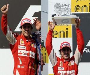 Puzle Fernando Alonso - Ferrari - Hungaroring, Grande Prêmio da Hungria (2010) (segundo lugar)