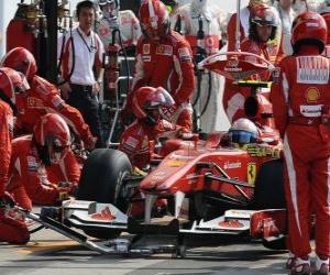 Puzle Fernando Alonso nos boxes - Ferrari - Monza 2010