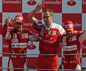 Puzle Fernando Alonso, Stefano Domenicali e Felipe Massa - Monza 2010