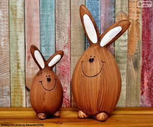 Puzle Figuras de coelhos da Páscoa