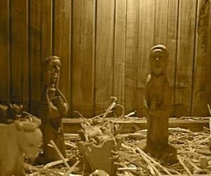 Puzle figurines da natividade e berço de madeira
