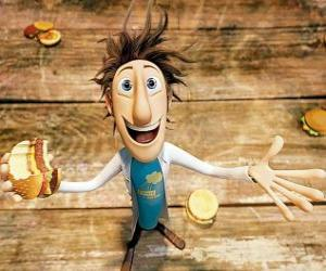 Puzle Fint comer um hambúrguer cai do céu