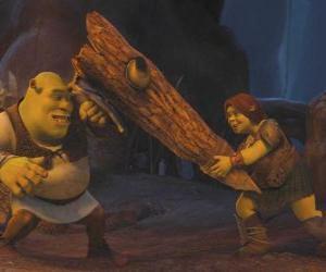 Puzle Fiona, o guerreiro, juntamente com Shrek