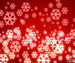 Puzle Flocos de neve fundo vermelho