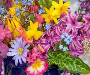 Puzle Flores da primavera variadas