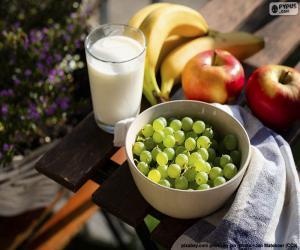 Puzle Frutas e leite