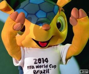 Puzle Fuleco, o mascote oficial da Copa do Mundo de 2014 no Brasil é um tatu