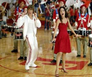 Puzle Gabriella Montez (Vanessa Hudgens) Troy Bolton (Zac Efron) cantando e dançando