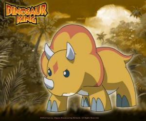 Puzle Gabu, Chomp, o dinossauro mais forte equipe-D, o triceratops de Dinossauro Rei