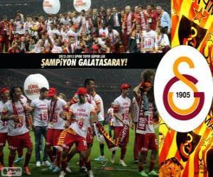 Puzle Galatasaray, campeão Super Lig 2012-2013, liga de futebol da Turquia