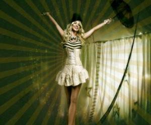 Puzle Garota equilibrista vestida como uma bailarina e com chapéu cônico caminhando na corda