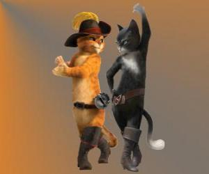 Puzle Gato das Botas dançando com a gata Kitty