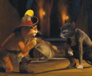 Puzle Gato das Botas falar com Kitty