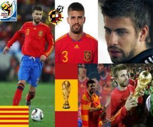 Puzle Gerard Pique (O dandy de Espanha), a defesa da equipe espanhola