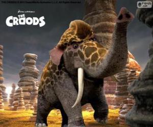 Puzle Girelephant de Os Croods, um cruzamento entre uma girafa e um elefante